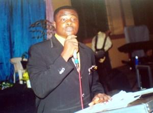 Bishop Nelson Nnannah of Soulwinners Churches making a presentation